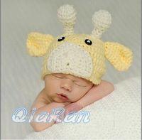 baby giraffe photos - Handmade Knitted Children Baby Hat Crochet Giraffe Deer Beanies Cap for Newborn Toddler Animal Hat Photo Props H056