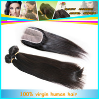 Wholesale 6A Brazilian Malaysian Peruvian Mongolian Virgin Hair Weft Extension Straight pc Middle Part Lace Closure And Human Hair Weave