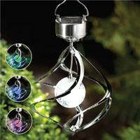 Garden ball wind spinner - LJY LED Beautiful Colorful LED Solar Wind Chime Light with RGB Color Changing Mosaic Crack Ball Spiral Spinner