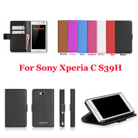 For Apple iPhone Leather Yes Free Shipping for Sony Xperia C S39H C2305 Luxury Wallet Leather Case With Credit Card Holder Cell Phone Case +Flim+Touch Stylus