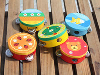 Wholesale Orrf Wooden hand drum beat toy baby rattles toys early learning education handbell drum music toy cm
