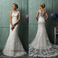 A-Line Reference Images Scoop 2014 Amelia Sposa Wedding Dresses With Scoop Sheer Back Covered Button Mermaid Court Train Lace New Hot Custom Glamorous Church Bridal Gowns
