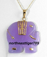 Beaded Necklaces solitaire pendants Purple Jade 18KGP Elephant Pendant and Necklace