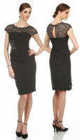 New 2015 Graceful Black Cap Sleeve Lace Sheath Column Chiffo...