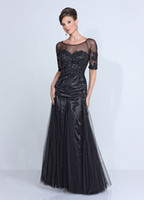 New 2015 Classic Black Half Sleeves Scoop A- Line Tulle+ Lace ...