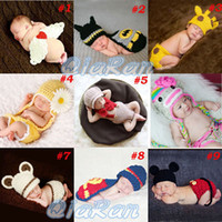 Wholesale Retail Baby Newborn Photography Props Costume Hand Crochet Knit Infant Beanie Hat with Cape Animal Design SG040