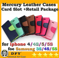 For Apple iPhone 4/4S/5/5S Leather White Lowest Price Mercury Leather Cell Phone Cases For iPhone 4 4s 5 5s Samsung S3 S4 with card slot with retail package Good quality
