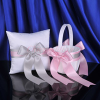 Ring Pillow & Flower Basket Sets big bow rings - Wedding Favors Wedding Party pink big bow Ring Pillows Flower Baskets ring pillow and girl s folwer baskets