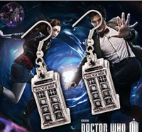Wholesale Doctor Who Tardis Earrings Police Box Earrings Vintage Ancient Silver Color prs B4