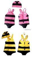 Girl bee bikini - Children Swimwears BEE Bikini One Piece Swimming Suit Hats