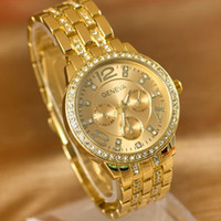Wholesale 3 Colors GENEVA Fashion Luxury Gold Crystal Quartz Rhinestone Date Lady Women Wrist Watch Drop Shipping