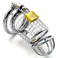 Cheap Male Chastity belt Stainless Steel Cock Cage For Man Metal Bondage Device with Spike Ring Silver Cock Cage With Male Chastity Device