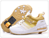 Unisex automatic pulley - 4 Colors High quality Fashion Automatic roller shoes slider shoes pulley children casual sports shoes kids sneakers Eur