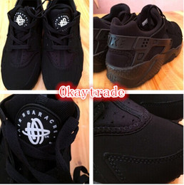 Wholesale Famous Trainers Air Huarache Free Men s Sports Running Shoes Black White Size