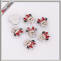 Fashion Charms Yes Wholesale 2014 new silver-plated Enamel Mickey Charms for Floating glass locket