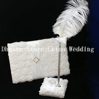 Wholesale Elegant White Ribbon Wedding Party Supplies Colour Schemes Accessories Guestbook and Pen Set