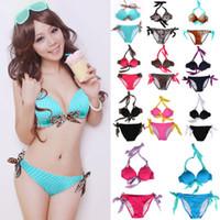 Women Bikinis Dot SWIM 2014 Hot SEXY GIRL Women Bikini Set PUSH-UP HALTER Padded Swimwear
