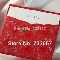 Wedding Event & Party Supplies Yes Hollow Wedding Invitations Red Lace Elegant Printable Wedding Cards 155*155mm Envelope+Seal+Cards Wedding Favors