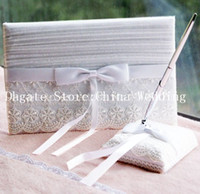 Wholesale Elegant White White Ribbon Lace Wedding Party Supplies Colour Schemes Accessories Guestbook and Pen Set