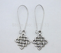 Couple Rings Women's Drop Earrings Wholesale Free Shipping Fashion New 50 Pair Antique Silver Alloy Retro Chinese Knot Earrings Pendant DIY Jewelry 25X21mm K369