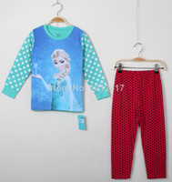 Wholesale Frozen Girl Homewears Frozen Kids Pajamas Cute Carton Print Size T Sets Frozen Anna Elsa Kids Sleep wear
