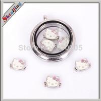 Fashion Charms Yes Wholesale 2014 fashion Tibetan silver plated Enamel hello kitty charms for glass living locket