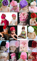 For Wii Baby Girls 0-3 months Bonnets Newborn Crochet Outfits Topbaby 5pcs lot Clearance Free Shipping Baby Hats Big Flower Hat Size Elastic Spring Autumn