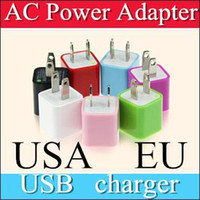 Wholesale 100XX AC Power Adapter US Plug USB Wall Travel Charger US EU Adapter for iphone S for Samsung Galaxy Cellphones Multi color AAA