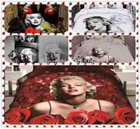 100% Cotton Hotal Adults 3D oil painting sexy Marilyn Monroe print bedding full queen super king size bed quilt duvet covers sets 4 pcs red black white