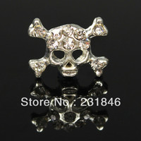 Wholesale 30 Skull Bone Face D Alloy Crystal Rhinestone Nail Art Tip Stickers Skeleton DIY Decoration Phone Decal DIY UV Gel X8mm