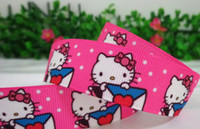 Wholesale 10yards quot mm rose red cat lovely cartonn gift package printed ribbon DIY cartoon polyester grosgrain ribbon