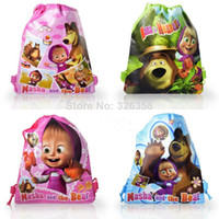 Backpacks Polyester Men 12Pcs Masha & the Bear Children Cartoon Drawstring Backpack Kids School Bags,Mixed 4 Designs,Kids Birthday Party Gift