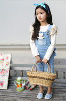 Wholesale New Apring Autumn Children New Korea Floral Bow Kids The Girls A Pair Of Jeans Trousers Pants Sports Pastoral Lovely Princess T E0076
