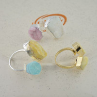 Wholesale Fashion x Mixed Color Druzy Quartz Bezel Ring Jewelry Finding