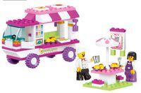 Wholesale Sluban M38 B0155 blocks pink lunchwagon Educational children assembled toy DIY D building blocks