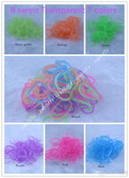 Girls 8-11 Years Multicolor Glow in the Dark noctilucence Glitter Transparent Jelly Rainbow Loom Refill Rubber Bands Rainbow Loom Bracelet refill (600 bands+24 clips)