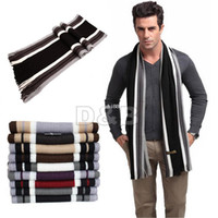 New knitted cashmere scarf - 2014 New Men s Winter Fashion Striped Knitting Wool Scarf Men Tassels Scarf Cashmere Long Pashmina Shawl Drop shipping
