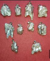 Pendant Necklaces baroque pearl pendants - 10pcs Natural South Sea baroque pearl pendant necklace