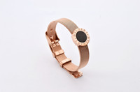 HOT sale female rose gold bracelet with black white color , ...