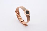 HOT sale female rose gold bracelet with black white color , ...
