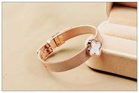 HOT sale female rose gold bracelet with Clover , titanium st...
