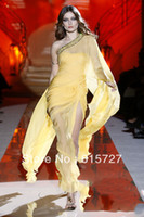 Reference Images One-Shoulder Natural Greek Goddess Graceful 2014 Zuhair Murad Yellow Chiffon Beading One Shoulder High Silt Long Ruched Prom Dress Evening Party Gown
