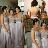 Wholesale Silver chiffon lace Custom made New Big Discount cap sleeve long Bridesmaid Dresses formal dresses with ribbon