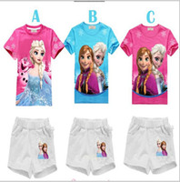 Wholesale 2014 new summer girls frozen sets children short sleeve short pants suits kids baby clothing