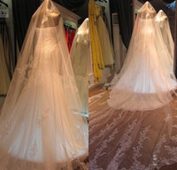 Wholesale Junoesque Stunning Applique Sequins White Ivory Wedding Veil Tier Cathedral Bridal Veils