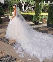 kim kardashian wedding Veil 3.5 meter long tulle with applique inspired bridal veil