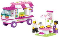 Wholesale Sluban Pink Dream Series Snack Car Building Block Sets Enlighten Educational Brick toy for kids