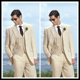 Wholesale Chic Custom Made Slim Groom Tuxedos Beige Two Buttons Side Slit Best Man Suit Wedding Groomsman Men Suits Bridegroom Jacket Pants Tie Vest