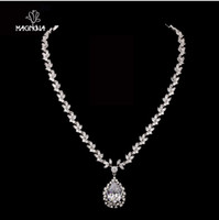 Pendant Necklaces Women's Necklaces Gorgeous! Fairy Flower with Pear shaped Sparkling Cubic Zirconia Diamond Drop Wedding Necklaces heart pendant necklace N0000122