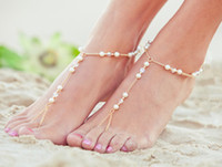 Barefoot Sandals Crystal Pearl Beads  Chirstmas HOT 2014 New Arrival Sexy Fashion Women&Girl Beach Toe Ring Chain Crystal Pearl Beads Ankle Bracelet Anklet Sandal Foot Jewelry Handmade